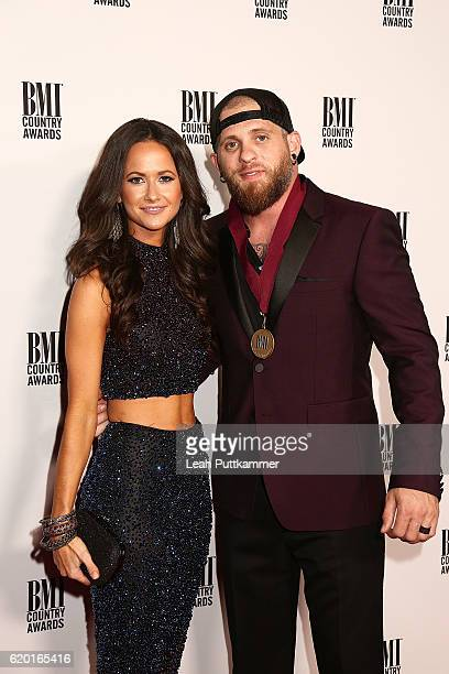 Singersongwriter Brantley Gilbert and Amber Cochran attend the 64th Annual BMI Country awards on November 1 2016 in Nashville Tennessee