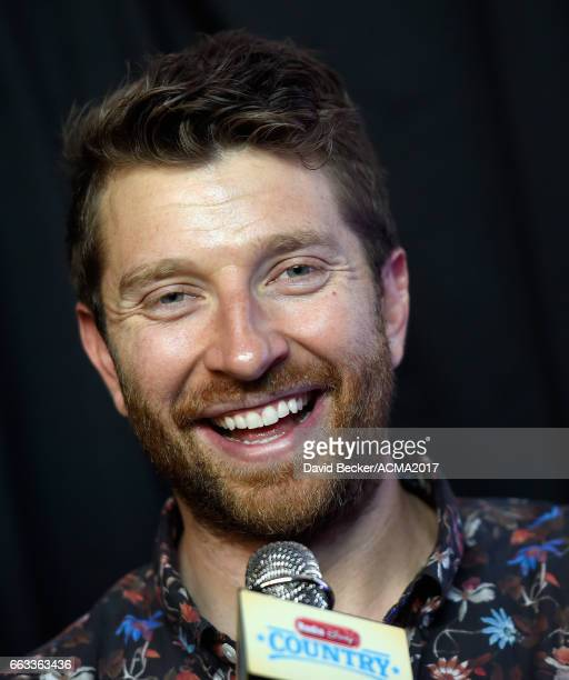 Singersongwriter Brett Eldredge speaks during the 52nd Academy Of Country Music Awards Cumulus/Westwood One Radio Remotes at TMobile Arena on April 1...