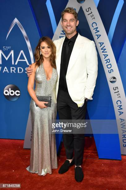 Singersongwriter Brett Young and guest attend the 51st annual CMA Awards at the Bridgestone Arena on November 8 2017 in Nashville Tennessee