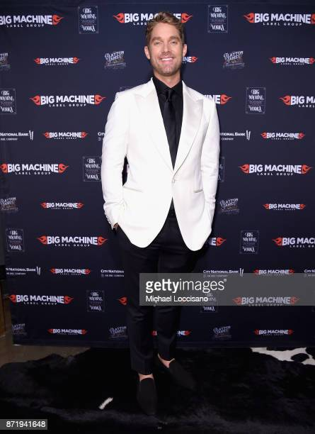 Singersongwriter Brett Young attends the Big Machine Label Group's celebration of the 51st Annual CMA Awards at FGL House in Nashville on November 8...