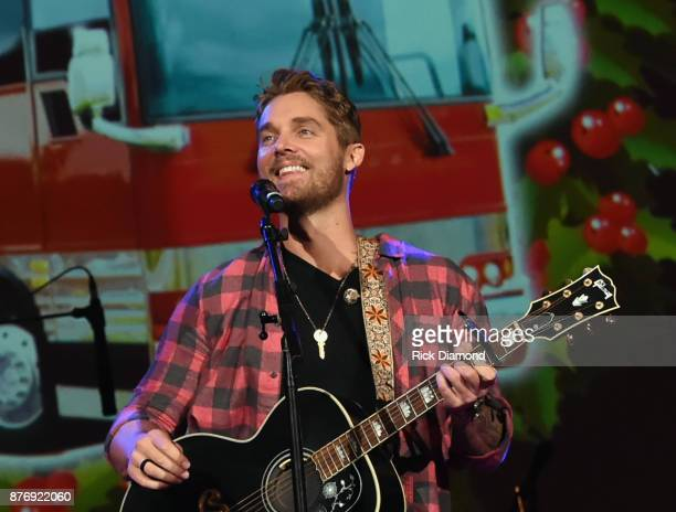 Singer/Songwriter Brett Young performs during 2017 Christmas 4 Kids Concert at Ryman Auditorium on November 20 2017 in Nashville Tennessee