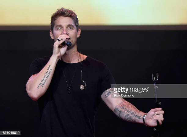Singersongwriter Brett Young performs onstage during the 55th annual ASCAP Country Music awards at the Ryman Auditorium on November 6 2017 in...