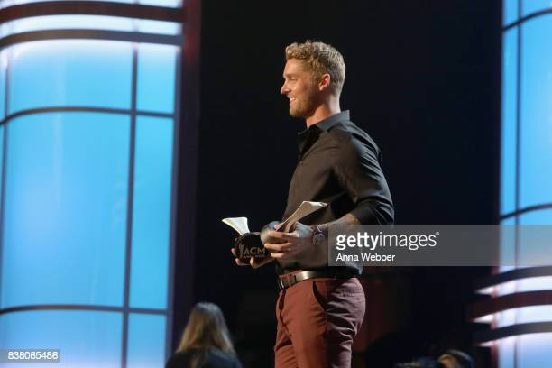 Singersongwriter Brett Young speaks onstage during the 11th Annual ACM Honors at the Ryman Auditorium on August 23 2017 in Nashville Tennessee