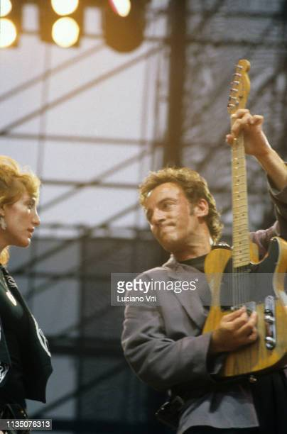 Singersongwriter Bruce Springsteen and Patti Scialfa performing in Rome Italy 1988