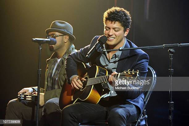 Singer/songwriter Bruno Mars performs onstage during rehearsals for GRAMMY Nominations Concert Live at Club Nokia on December 1 2010 in Los Angeles...