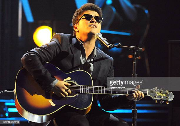 Singer/songwriter Bruno Mars performs onstage during The GRAMMY Nominations Concert Live at Club Nokia on December 1 2010 in Los Angeles California