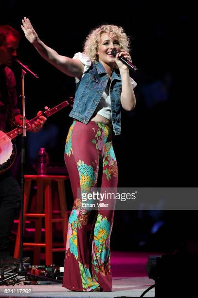 Singer/songwriter Cam performs as she opens for George Strait during his Strait to Vegas Exclusive Worldwide Engagements at TMobile Arena on July 28...