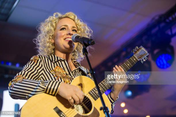 Singer/songwriter Cam performs on stage at the Gibson Guitars booth during the 2019 NAMM Show at Anaheim Convention Center on January 25 2019 in...
