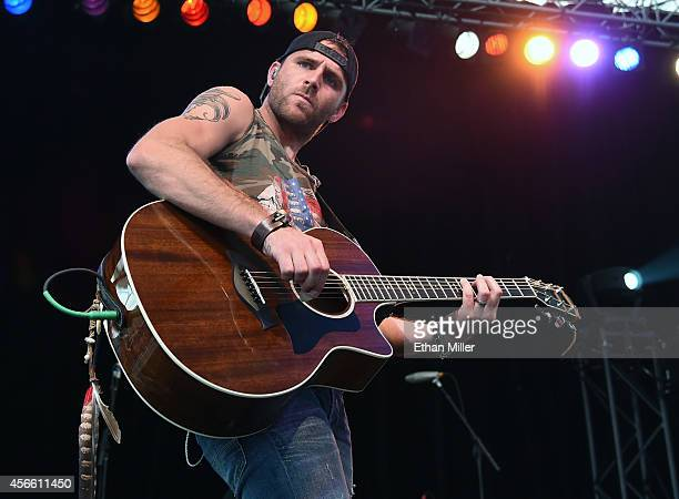 Singer/songwriter Canaan Smith performs during the Route 91 Harvest country music festival at the MGM Resorts Village on October 3 2014 in Las Vegas...