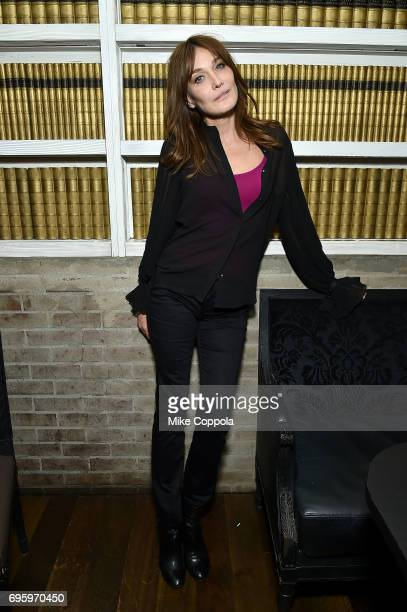 Singer/songwriter Carla Bruni poses for a photo after performing at her US Showcase on June 13 2017 in New York City