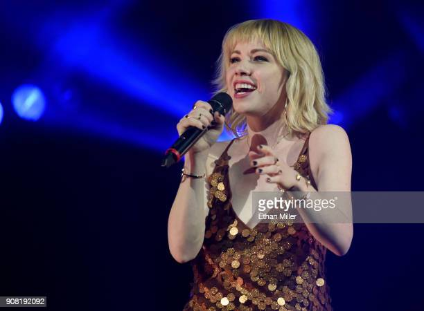 Singer/songwriter Carly Rae Jepsen performs as she opens for Katy Perry at TMobile Arena on January 20 2018 in Las Vegas Nevada