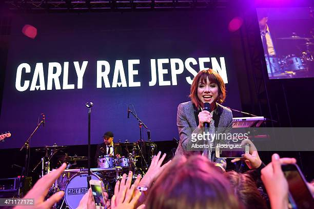 Singer/songwriter Carly Rae Jepsen performs at City Year Los Angeles Spring Break at Sony Studios on April 25 2015 in Los Angeles California