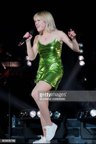 Singersongwriter Carly Rae Jepsen performs live in concert as the supporting act of Katy Perrys Witness The Tour event held at the ATT Center on...