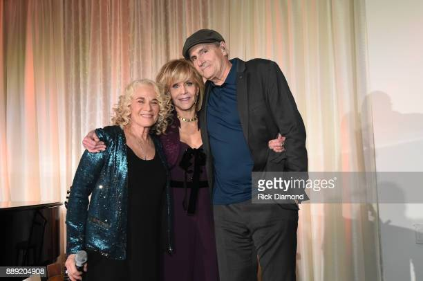 Singersongwriter Carole King AcademyAward Winning Actress Jane Fonda and singersongwriter James Taylor attend GCAPP 'Eight Decades of Jane' in...