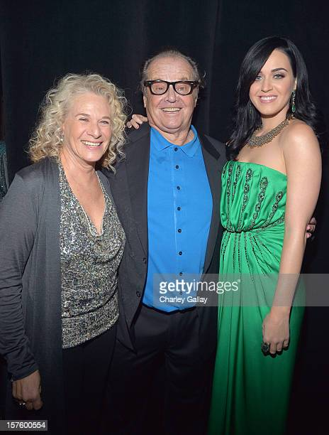 Singer/songwriter Carole King actor Jack Nicholson and singer Katy Perry attend a celebration of Carole King and her music to benefit Paul Newman's...