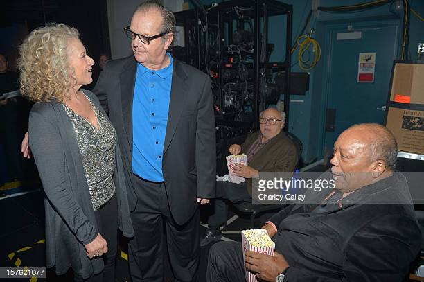 Singer/songwriter Carole King actors Jack Nicholson and Danny DeVito and Quincy Jones attend a celebration of Carole King and her music to benefit...