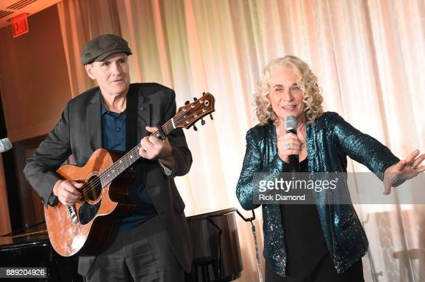 Singersongwriter Carole King and singersongwriter James Taylor perform at GCAPP 'Eight Decades of Jane' in celebration of Jane Fonda's 80th birthday...