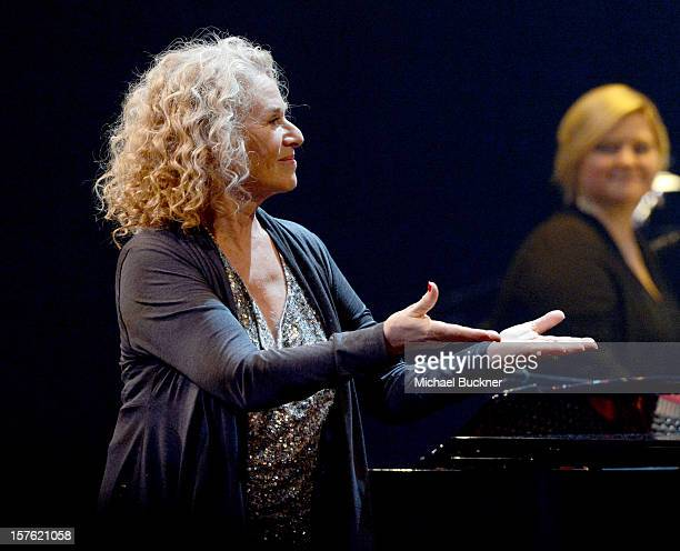 Singer/songwriter Carole King performs onstage during a celebration of Carole King and her music to benefit Paul Newman's The Painted Turtle Camp at...