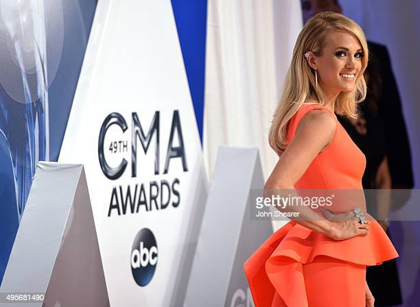 Singer-songwriter Carrie Underwood attends the 49th annual CMA Awards at the Bridgestone Arena on November 4, 2015 in Nashville, Tennessee.