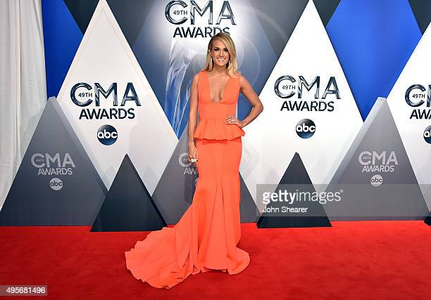 Singersongwriter Carrie Underwood attends the 49th annual CMA Awards at the Bridgestone Arena on November 4 2015 in Nashville Tennessee