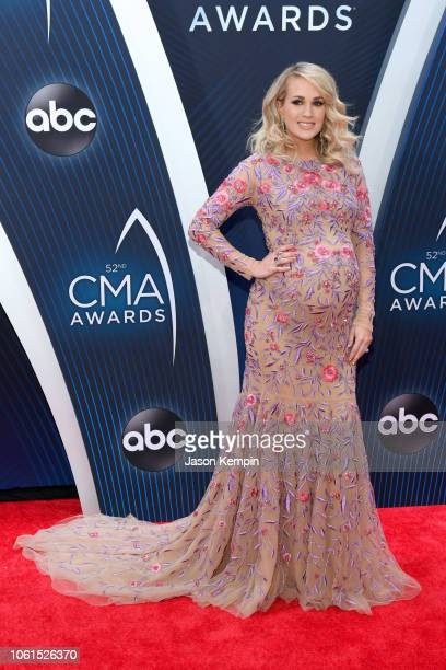 Singersongwriter Carrie Underwood attends the 52nd annual CMA Awards at the Bridgestone Arena on November 14 2018 in Nashville Tennessee