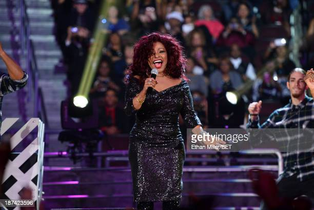 Singer/songwriter Chaka Khan performs onstage at the Soul Train Awards 2013 at the Orleans Arena on November 8 2013 in Las Vegas Nevada