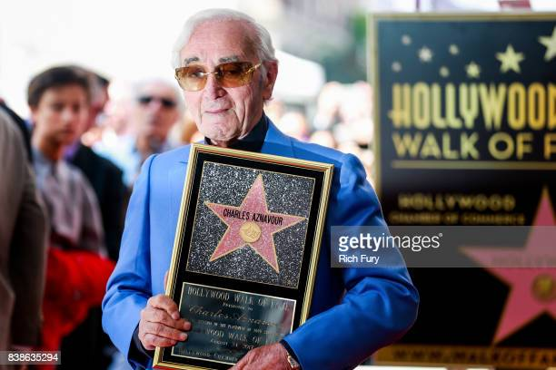 Singer/songwriter Charles Aznavour attends a ceremony honoring him with a star on the Hollywood Walk of Fame on August 24 2017 in Hollywood California
