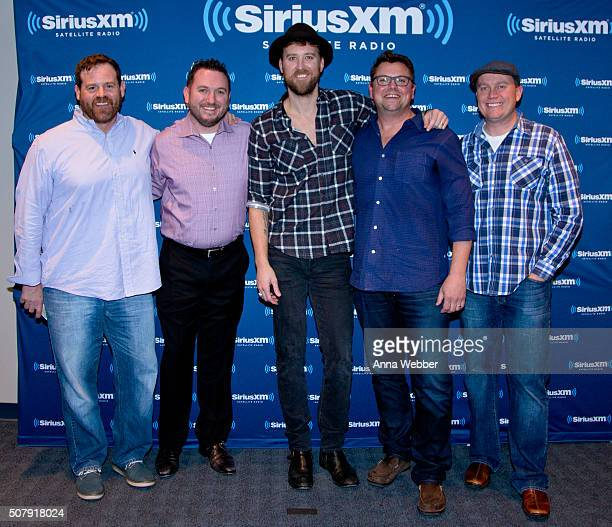 Singer/Songwriter Charles Kelley poses with Royce Risser JR Shumann Host Storme Warren and Shane Allen during Charles Kelley Performs Live On...