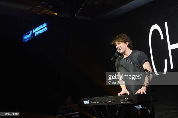 Singersongwriter Charlie Puth performs at the Hilton and American Express event at the Conrad New York on January 30 2018 in New York City