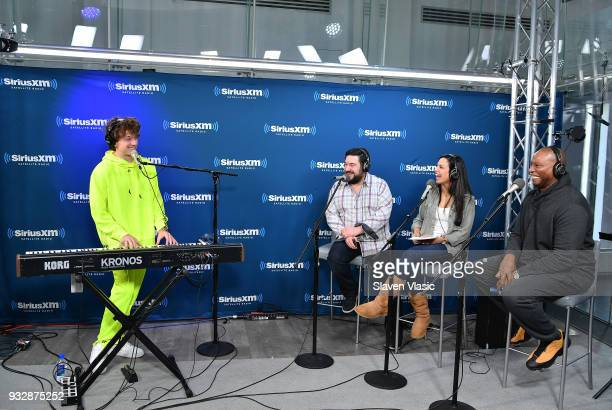 Singer/songwriter Charlie Puth talks to hosts Ryan Samson Nicole Ryan and Stanley T at Hits 1 at SiriusXM Studios on March 16 2018 in New York City