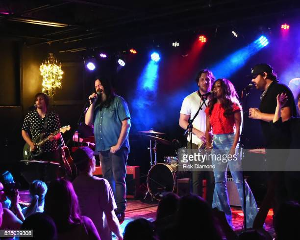Singer/Songwriter Charlie Worsham is joined onstage by Singer/Songwriters Jason Kott Abe Stoaklasa Mickey Guyton and Randy Houser during Every Damn...