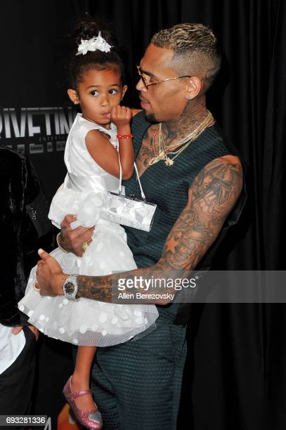 Singersongwriter Chris Brown and daughter Royalty Brown attend the premiere of Fathom Events' Chris Brown Welcome To My Life at Regal LA Live Stadium...