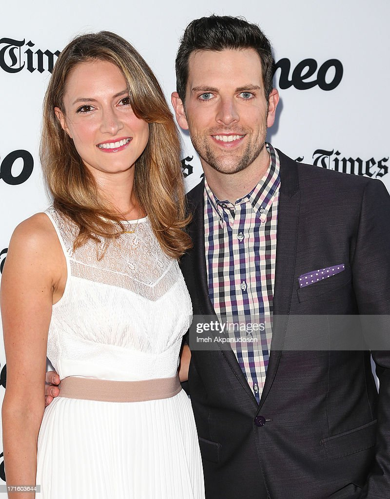 Singer/songwriter Chris Mann (R) and his fiance, actress Laura Perloe, attend the premiere of 'Some Girl(s)' at Laemmle NoHo 7 on June 26, 2013 in North Hollywood, California.