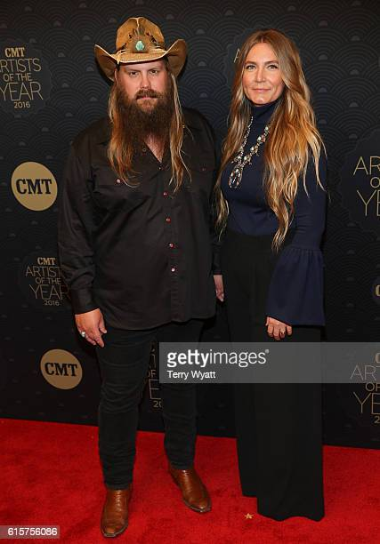 Singersongwriter Chris Stapleton and Morgane Stapleton arrive on the red carpet at CMT Artists of the Year 2016 at Schermerhorn Symphony Center on...