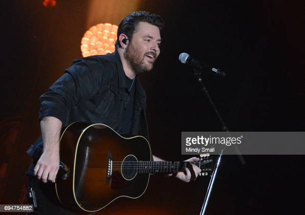 Singer/songwriter Chris Young performs at Nissan Stadium during day 3 of the 2017 CMA Music Festival on June 10 2017 in Nashville Tennessee