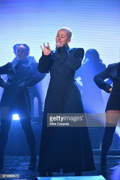 Singer/songwriter Christina Aguilera performs during her visit to the 'The Tonight Show Starring Jimmy Fallon' at Rockefeller Center on June 14 2018...