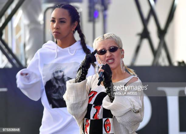 Singer/Songwriter Christina Aguilera performs live onstage at NBC's 'Today' at Rockefeller Plaza on June 15, 2018 in New York City.