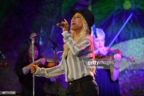 Singer/songwriter Christina Aguilera performs onstage during Hollywood Stands Up To Cancer Event with contributors American Cancer Society and...