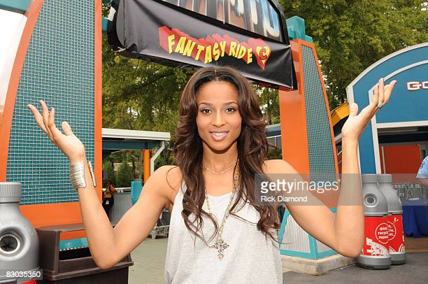 ATLANTA SEPTEMBER 27 Singer/Songwriter Ciara at the entrance to the newly named Roller Coaster Fantasy Ride at Six Flags over Georgia Fantasy Ride is...