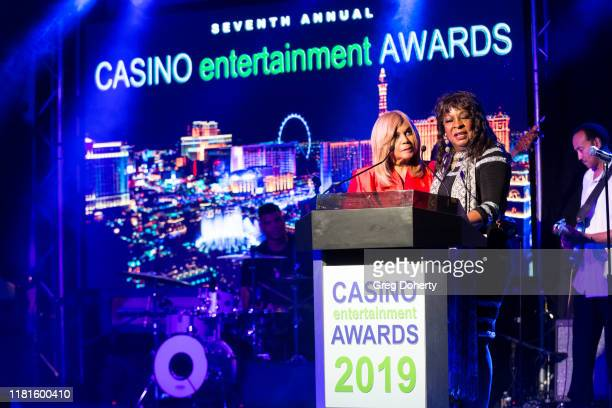 Singer/songwriter Claudette Rogers Robinson and singer Martha Reeves recipient of the Casino Entertainment Legend Award speak at the Global Gaming...