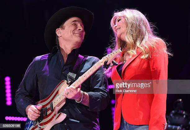 Singersongwriter Clint Black and actress Lisa Hartman Black perform onstage during 2016 CMA Festival Day 2 at Nissan Stadium on June 10 2016 in...