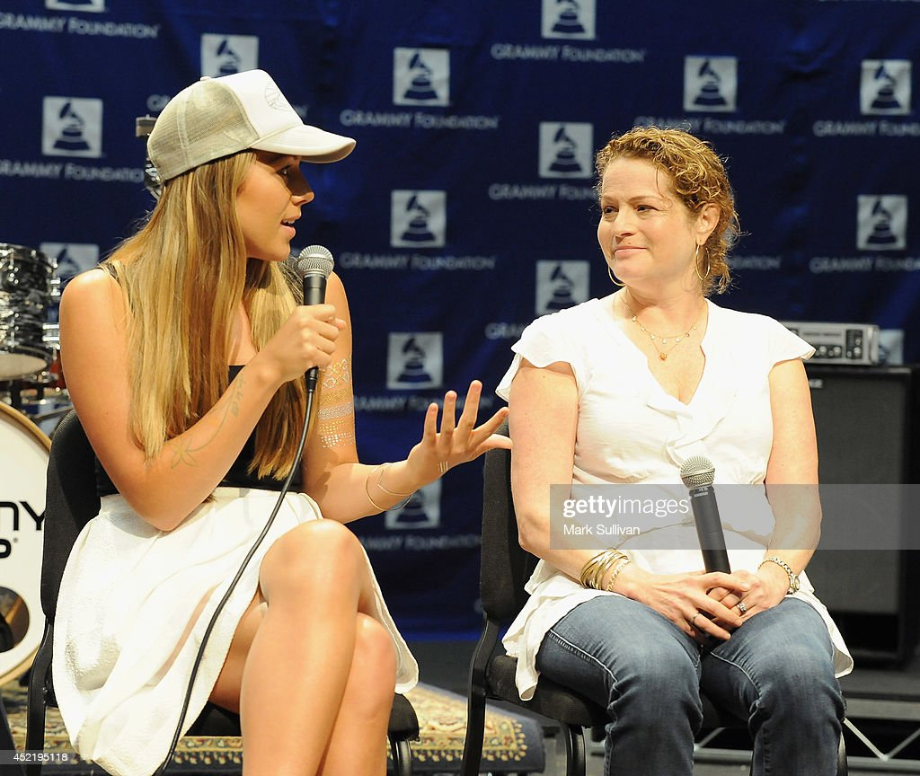 Singer/songwriter Colbie Caillat (L) and GRAMMY Foundation Board member Amanda Marks at the GRAMMY Foundations 10th annual GRAMMY Camp held at the University of Sothern California in Los Angeles Information at (GRAMMYiintheSchools.com) on July 15, 2014 in Los Angeles, California.