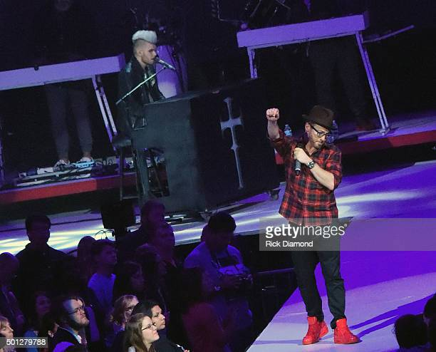 Singer/Songwriter Colton Dixon joins Singer/Songwriter Toby Mac and performs during Toby Mac's This Is Not A Test Tour at Bridgestone Arena on...