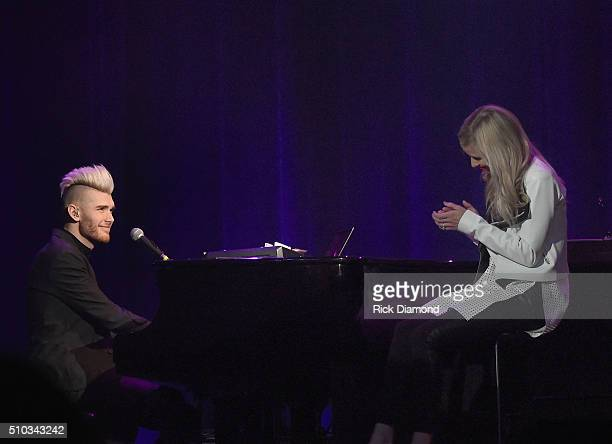 Singer/Songwriter Colton Dixon sings to his new bride Annie at Sam's Place Music For The Spirit at Ryman Auditorium on February 14 2016 in Nashville...
