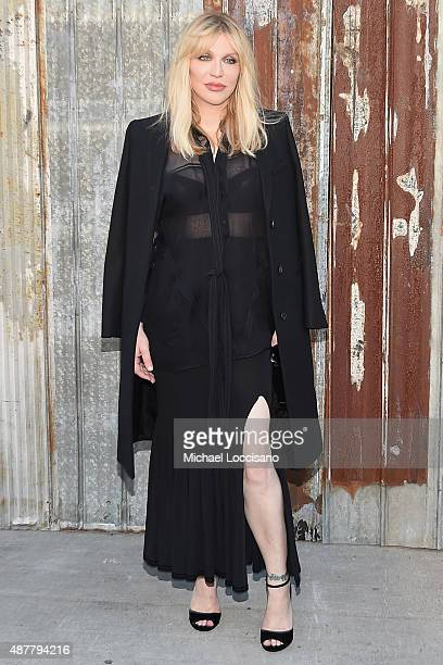 Singer/songwriter Courtney Love attends the Givenchy fashion show during Spring 2016 New York Fashion Week at Pier 26 at Hudson River Park on...
