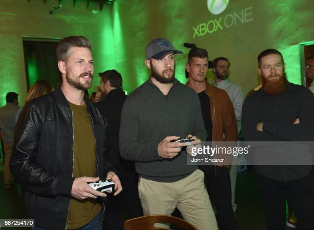 Singersongwriter Curtis Rempel of High Valley NHL player Nick Bonino Brad Rempel of High Valley and NHL player Ryan Ellis attend the Xbox Halloween...