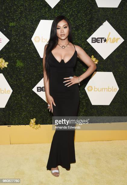 Singersongwriter Cymphonique arrives at the BET Her Awards Presented By Bumble at The Conga Room at LA Live on June 21 2018 in Los Angeles California