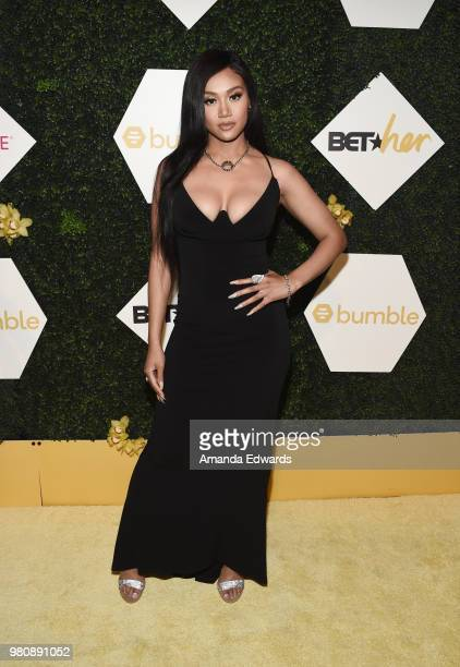 Singersongwriter Cymphonique Miller arrives at the BET Her Awards Presented By Bumble at The Conga Room at LA Live on June 21 2018 in Los Angeles...