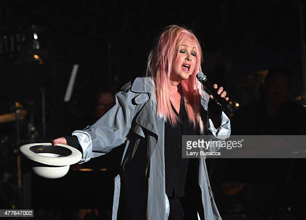 Singersongwriter Cyndi Lauper performs onstage at the Songwriters Hall Of Fame 46th Annual Induction And Awards at Marriott Marquis Hotel on June 18...