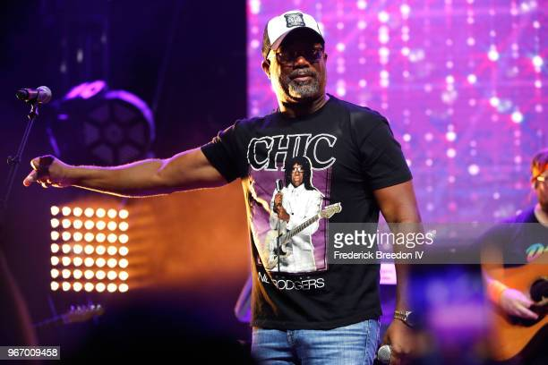 Singersongwriter Darius Rucker performs onstage during Nashville '80s Dance Party benefiting The Alzheimer's Association at Wild Horse Saloon on June...